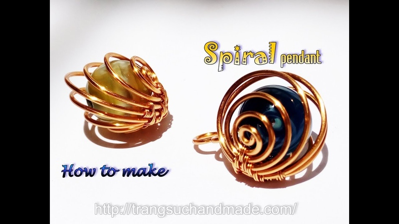 Spiral pendant with spherical stone without hole - Handmade jewelry from copper wire 404