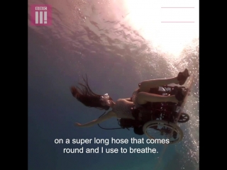 This is truly magical: Sue and her underwater wheelchair.