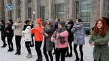 AMAZING Flash Mob! Girls dancing in the square in winter. Winter holiday in the north of Russia