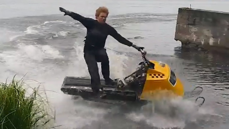 Snowmobiles vs Water | Snowmobile Water Skipping Fails 2018