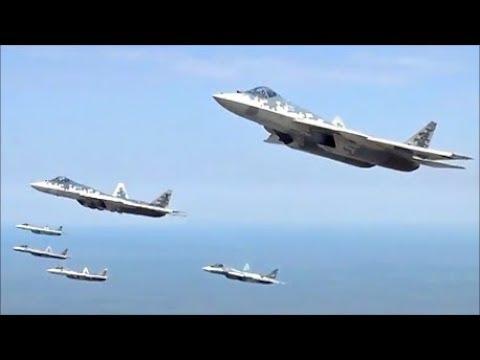 Sukhoi Su 57 5th Generation Stealth Fighter Jets Escort Putin's Presidential Plane