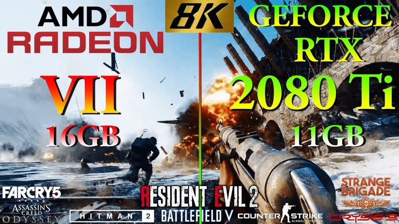 AMD Radeon VII vs RTX 2080 Ti Tested in 8K (4320p) in 8 PC games | AMD Ryzen 5 2600 @3.4GHz