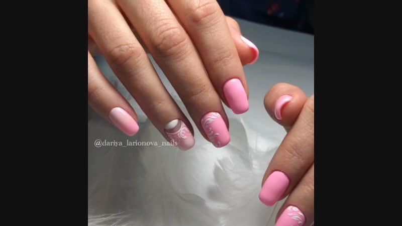 Нежный, воздушный, розовый маникюр 💅🏼🌸🕊 Вензеля и градиент 💨💗