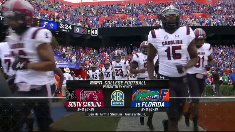 NCAAF 2018 / Week 11 / South Carolina Gamecocks - (15) Florida Gators / 1H / EN