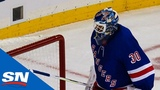 Henrik Lundqvist Frustrated After Huge Hit Leads To Breakaway Goal For Flames