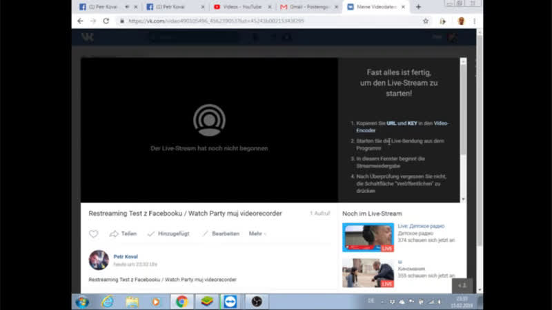 Restreaming Test z Facebooku / Watch Party muj videorecorder