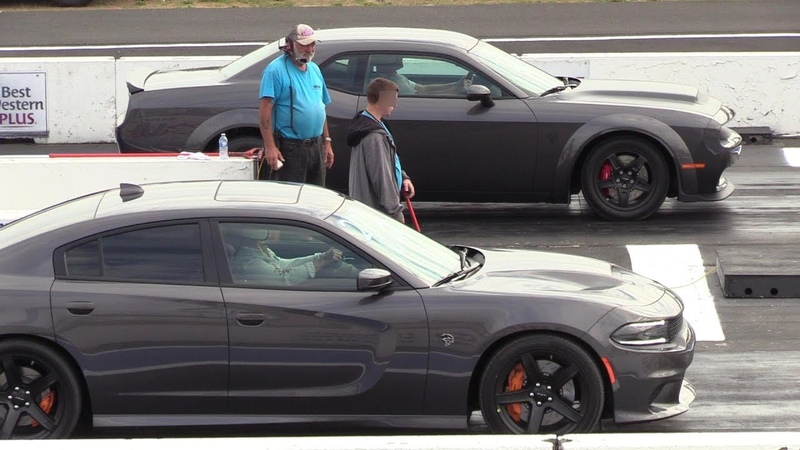 All new Dodge models on a drag strip Demon Hellcat Scat Pack Jeep Durango Challenger A T R T
