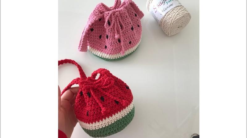 Makroma ip ile karpuz çanta yapımı -1 ( kız çocukları için bayramlık örgü çanta )