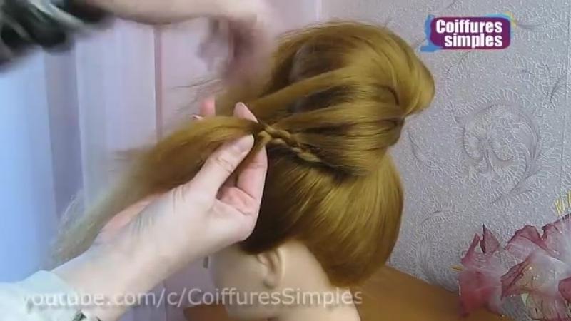 Tuto coiffure soirée -mariage -pour les fêtes -Noël 🌟 Chignon tressé facile cheveux mi long- long.mp4