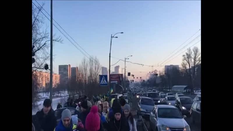Украинцы создали живую цепь Соборности на мосту Патона в Киеве