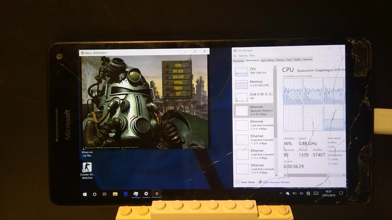 Original Fallout on a phone - Lumia 950 XL with Windows 10 on ARM