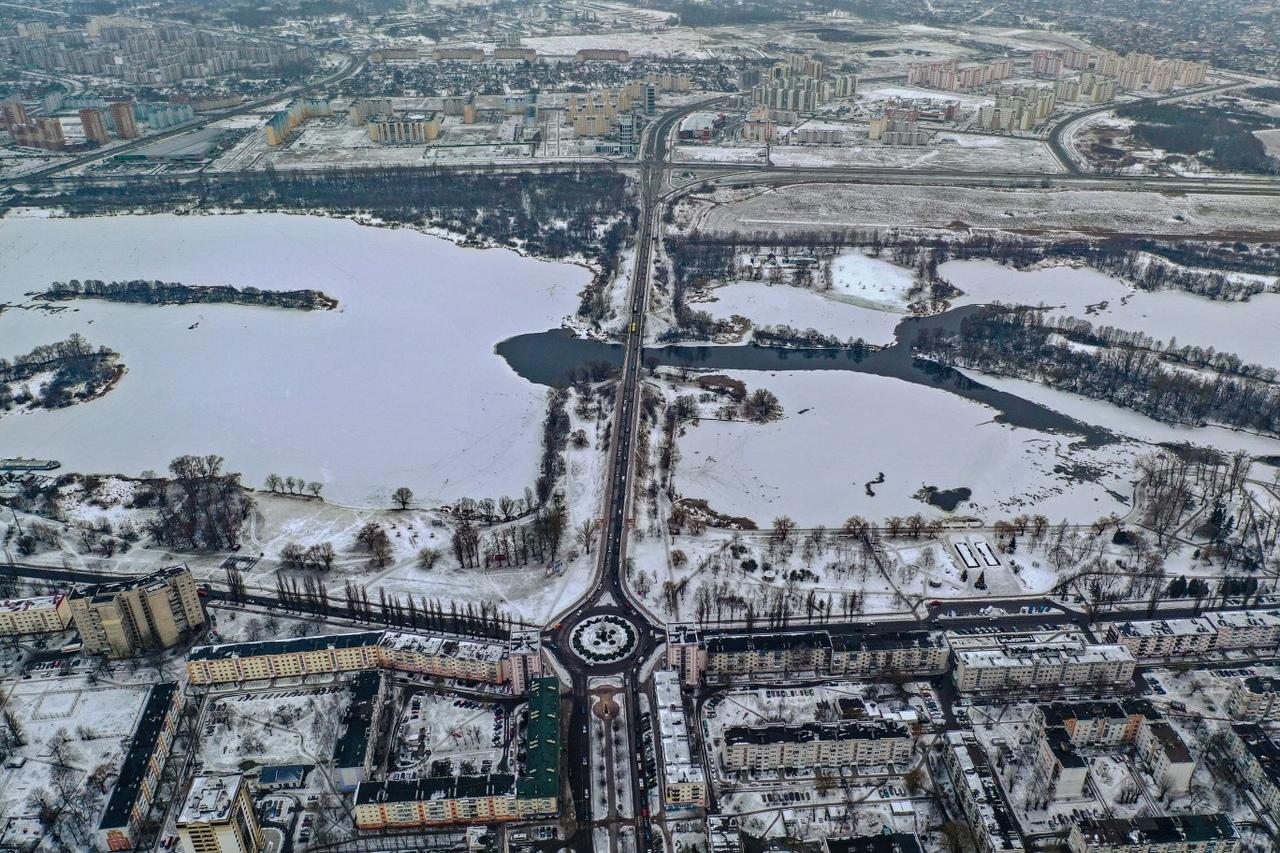Гляньте-ка на зимний и слегка снежный Брест с высоты
