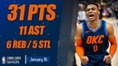 Russell Westbrook Mix Highlights | 31 PTS, 11 AST, 6 REB, 5 STL | OKC vs ATL | 16.01.2019 | MH