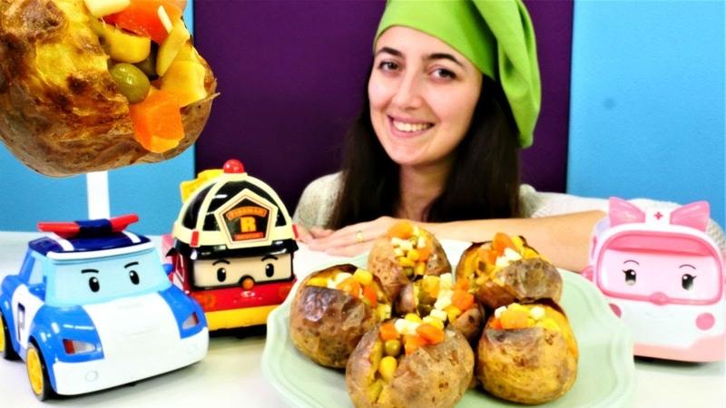 Robocar Poli ve arkadaşları Mini Mutfakta kumpir yiyorlar
