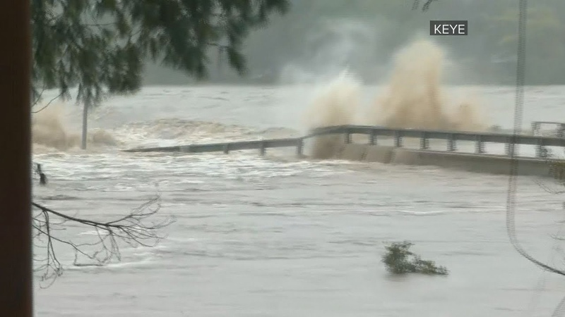 Llano River flooding in Texas washes away bridge on Live TV