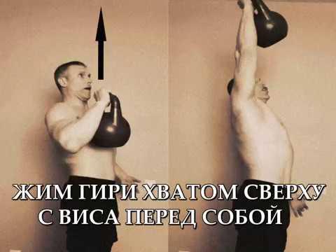 Супер упражнение для плеч Жим гири 24кг хватом сверху с виса перед собой