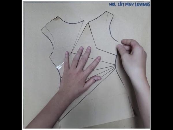Học cắt may Luvinus - Hướng dẫn ra rập mẫu váy chiết ly eo cổ thuyền