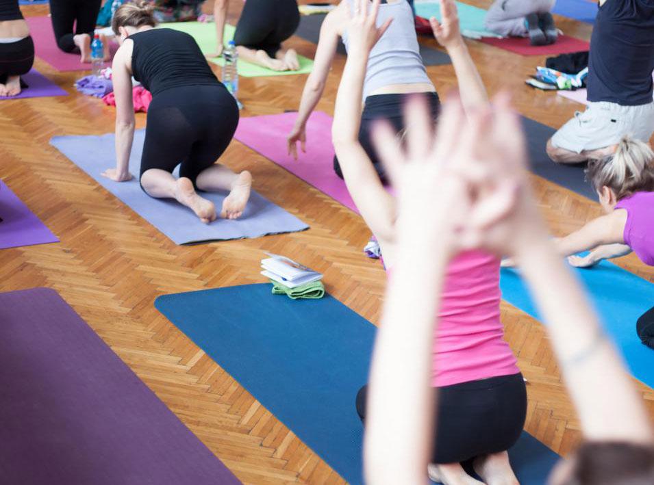 Класс йоги Бикрам состоит из сложной схемы из 26 асан, которая выполняется дважды.