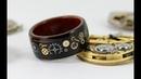 Деревянное стимпанк кольцо. Шестерёнки залитые эпоксидкой. Видеоурок.Wooden Steampunk Gear Ring (How To) - Bent Wood Ring With Watch Parts Inlay