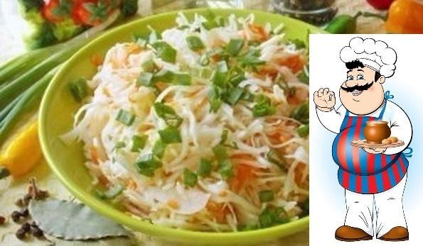 остренькая капуста быстрого приготовления ингредиенты: -капуста -морковь -чеснок -сахар -соль -перец -лавровый лист -растительное масло -уксус приготовление: итак, нашинковать 2 кг свежей