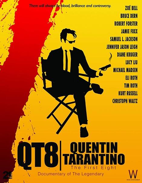 Постер документального фильма «КТ8: Первые восемь», посвященного первым 21 году карьеры Квентина Тарантино