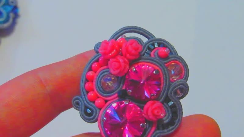 Сутажная шпилька с натуральным розовым кораллом и стразами Сваровски