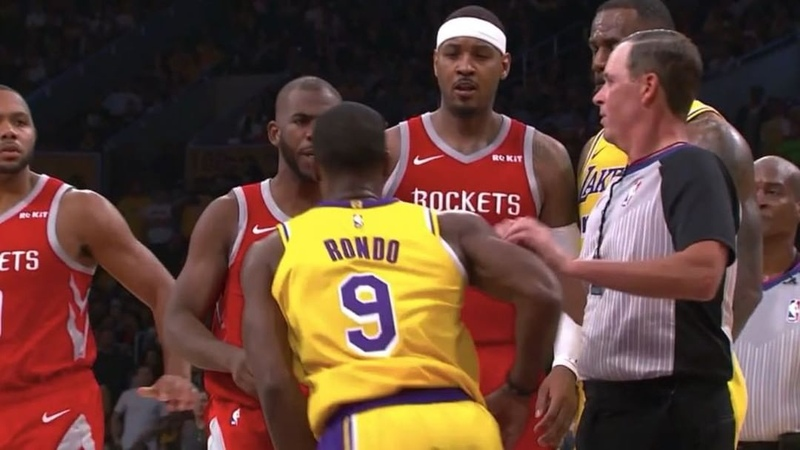 """Fight breaks loose between the Lakers and Rockets. Rondo, Paul, and Ingram all get ejected."""