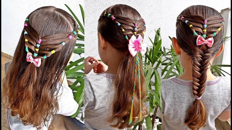 Penteado Infantil com ligas para cabelo solto, com amarração ou trança escama de peixe