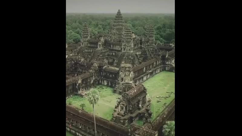 This is the Angor Wat temple complex in Cambodia - Built in the 12th century for the Khmer Empire, it's one of the largest and o