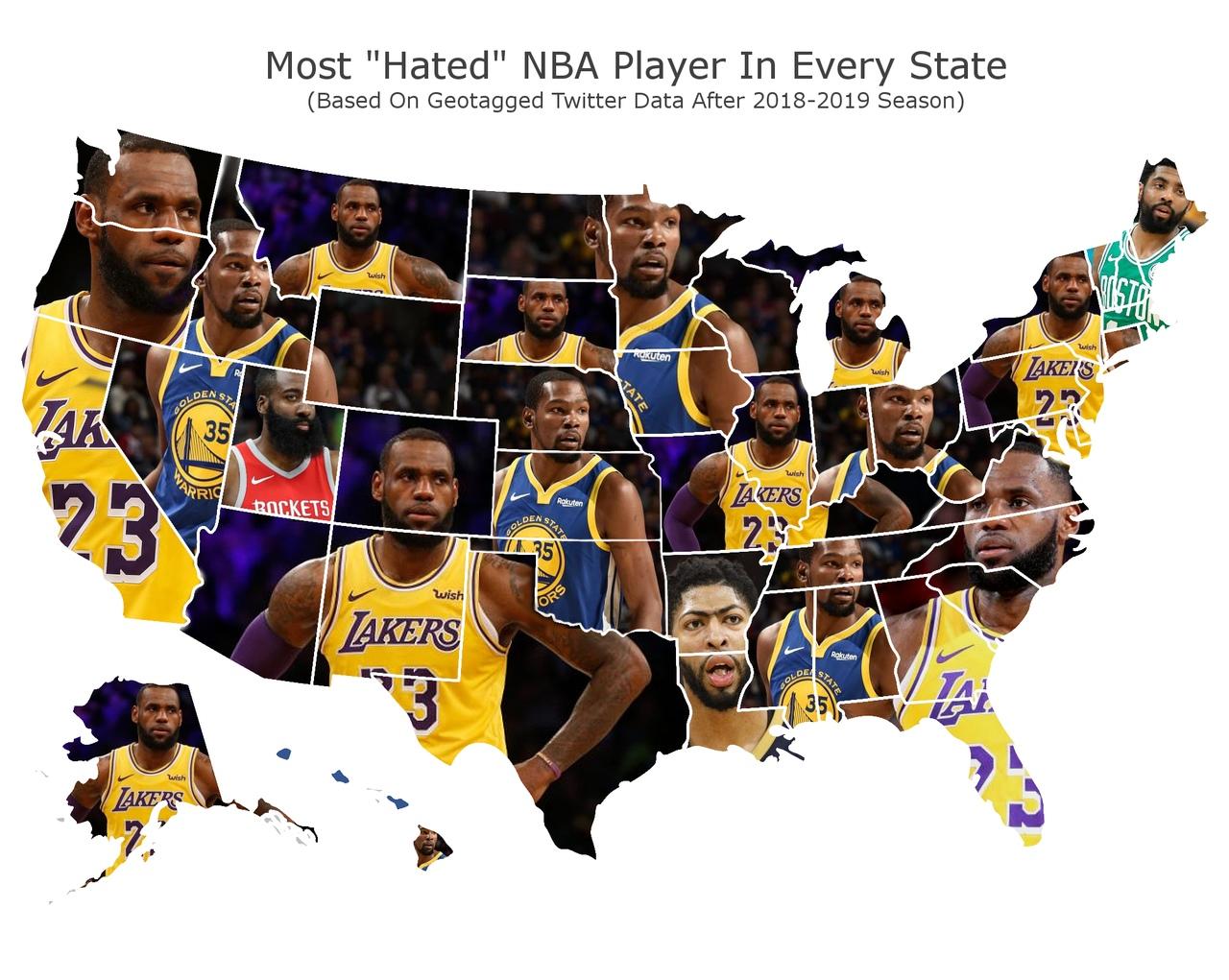 Леброн Джеймс – наиболее ненавидимый баскетболист в большинстве американских штатов