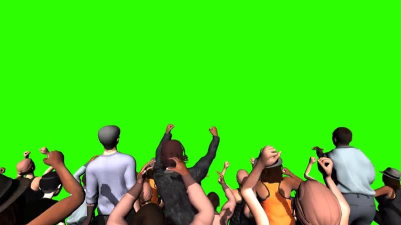 Pessoas Comemorando 2 - Crowd Cheering 2 _ Green Screen - Chroma Key