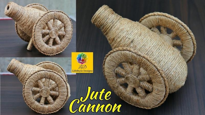 DIY Cannon Making Idea Using Jute Rope | Best Jute Decor Idea | Handmade Showpiece Making at Home