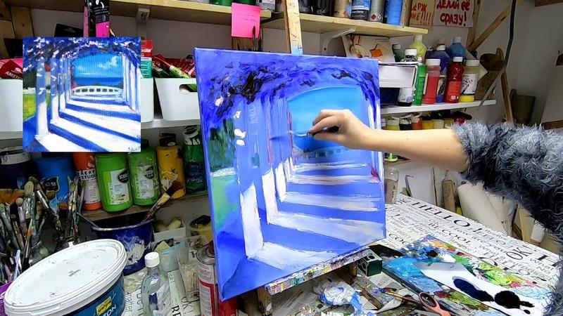 Sonnige Terrasse malen mit Ölfarben oil_painting GoPro Hero 7 Black