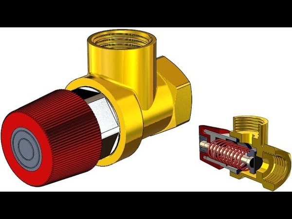 SolidWorks Tutorial 313 Relief valve PRV (movable spring, screw, distance mate)