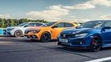 Honda Civic Type R vs Hyundai i30N vs Renault Megane RS Cup 280  Top Gear Drag Races