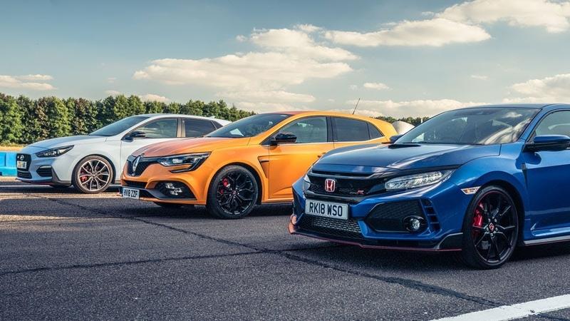 Honda Civic Type R vs Hyundai i30N vs Renault Megane RS Cup 280 | Top Gear Drag Races