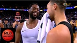 Dwyane Wade exchanging his jersey with Steph Curry Warriors vs Heat