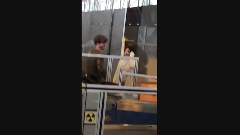 Camila and Matthew at airport in Santiago, Chile