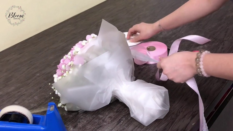 How to wrap Hydrangea Hand Bouquet Tutorial - Easy Step