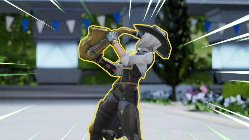 Ashe from Overwatch, but she is performing Fortnite dances...