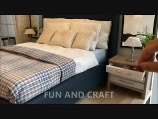 DIY miniature bedroom for DOLLS (bed, nightstand, room decor)