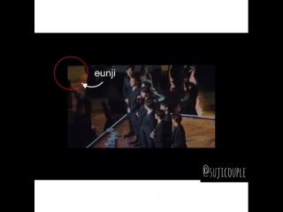 Suho looked at Eunji and smile