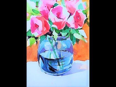 Glass Vase with Flowers / Watercolor painting 유리화병 꽃그리기 수채화