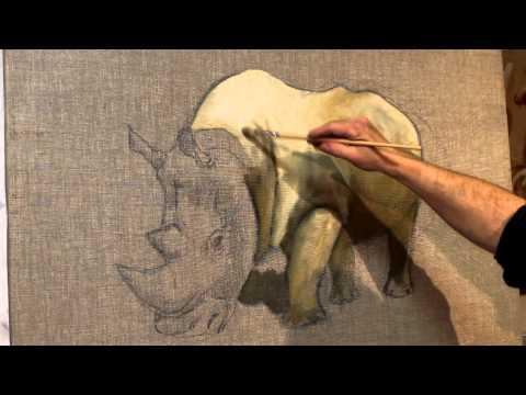 Peindre un rhinocéros à la peinture à l'huile