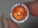 Rare Carmen Electra Top Gem Green Flash Mexican Fire Opal &amp Diamond Ring Set In Solid 14K Gold