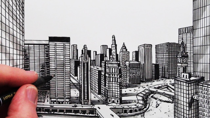 How to Draw a City in One-Point Perspective Chicago
