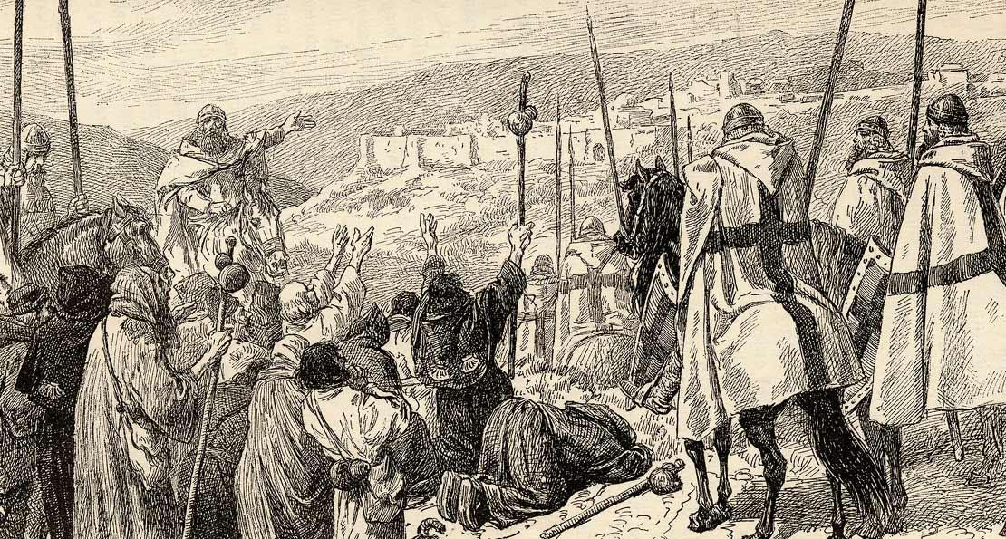 Рыцари у стен крепости
