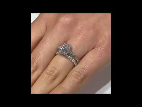 2.7 ct Radiant Cut Moissanite Three Stone Ring