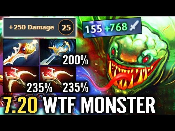 NEW MONSTER 7.20 Tide 1000 Dmg AoE EPIC WTF Craziest Gameplay by Wagamama Fun Dota 2