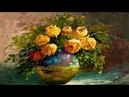 Gouache Painting Vase With Roses By Yasser Fayad